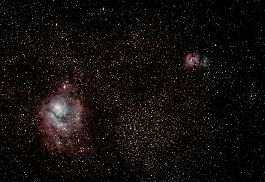 astrophotography lagoon nebula trifid nebula